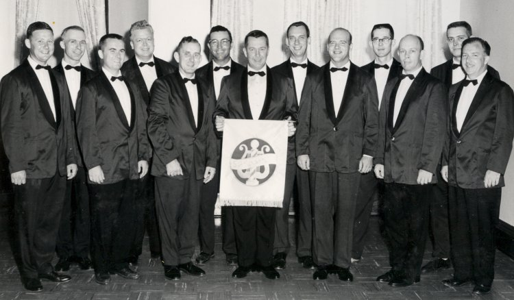 THE DANIEL BOONE CHORUS, AUGUST 1964: From left, Lynn Broadfoot, Bob Mertins, John Forternberry, Bill Wallace, James Hamilton, John Flannagan, Bert Volker, Gordon Manion, Elmer Kemmery, Jerry Coen, Carl Daniels, Pat Murphy,  Doc   Keough .