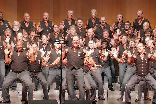 """The Ambassadors of Harmony perform Three Dog Night's """"Joy to the World"""" in June 2017 during """"A CAPPELLA LIVE!""""at the Touhill Performing Arts Center."""