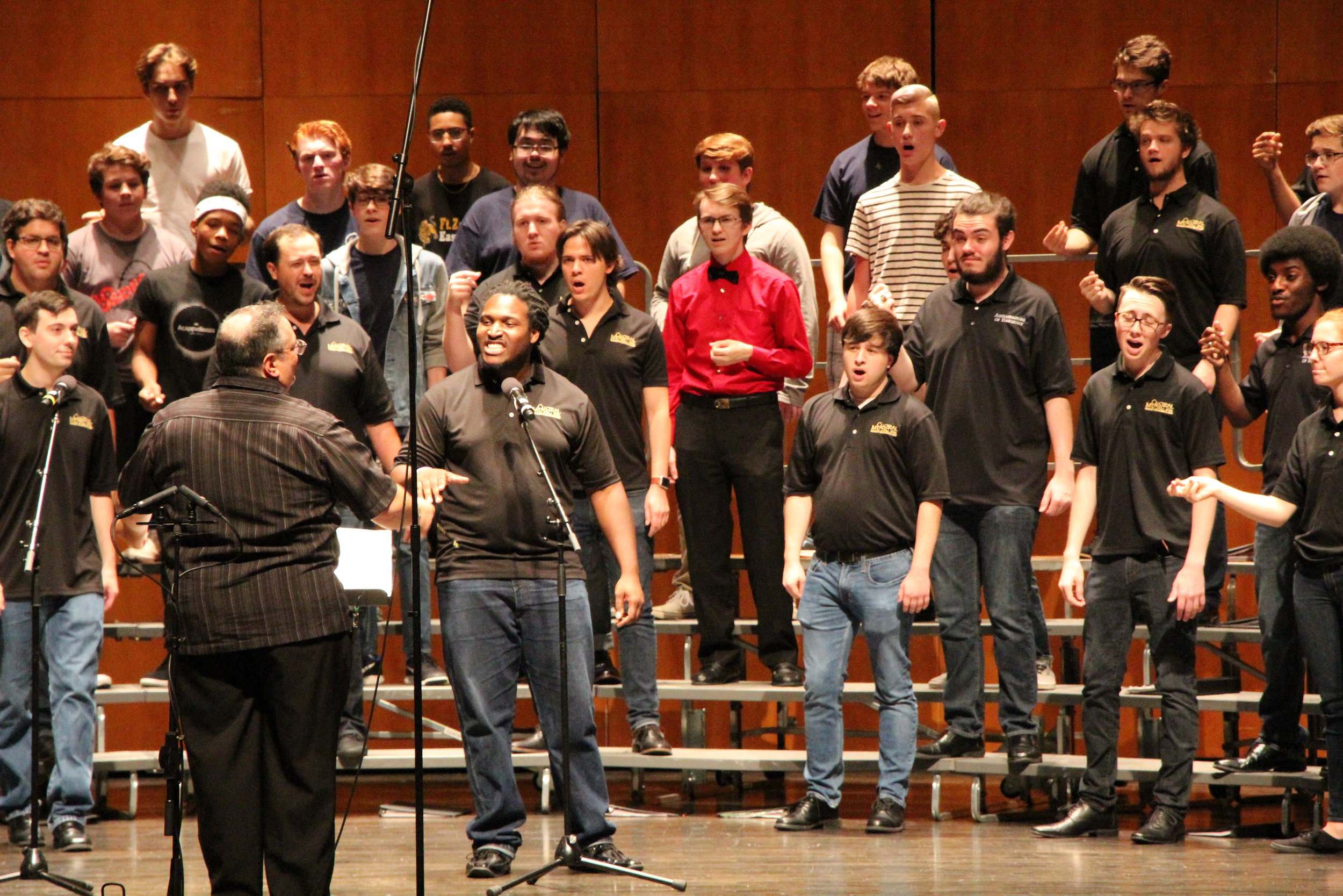 St. Louis-area high school boys sing at the 2017 Fall Acappellooza session, led by Jim Henry, co-director the Ambassadors of Harmony and choral music chair at the University of Missouri-St. Louis. Photo by Dave Revelle