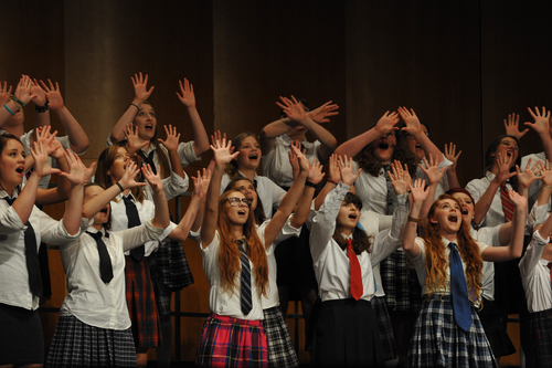 A girls chorus performs during the 2013 Acappellooza session at the Touhill Performing Arts Center. Photo by Lance Theby