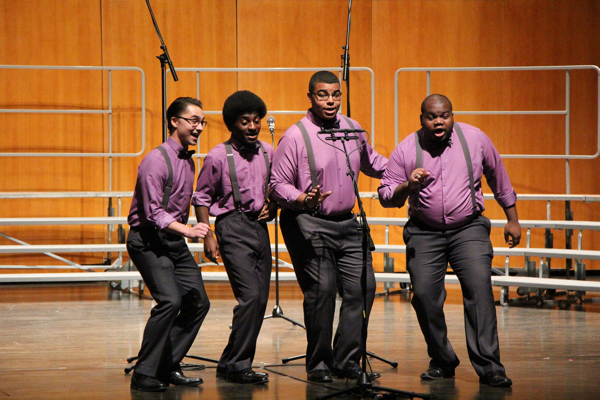 The Kingsmen, a young men's barbershop quartet, perform at the 2017 Fall Acappellooza session at the Touhill Performing Arts Center at the University of Missouri-St. Louis. From left to right are Austin Beck, Stephen Day, Alex Johnson and Ransford Tulloch. Photo by Dave Revelle