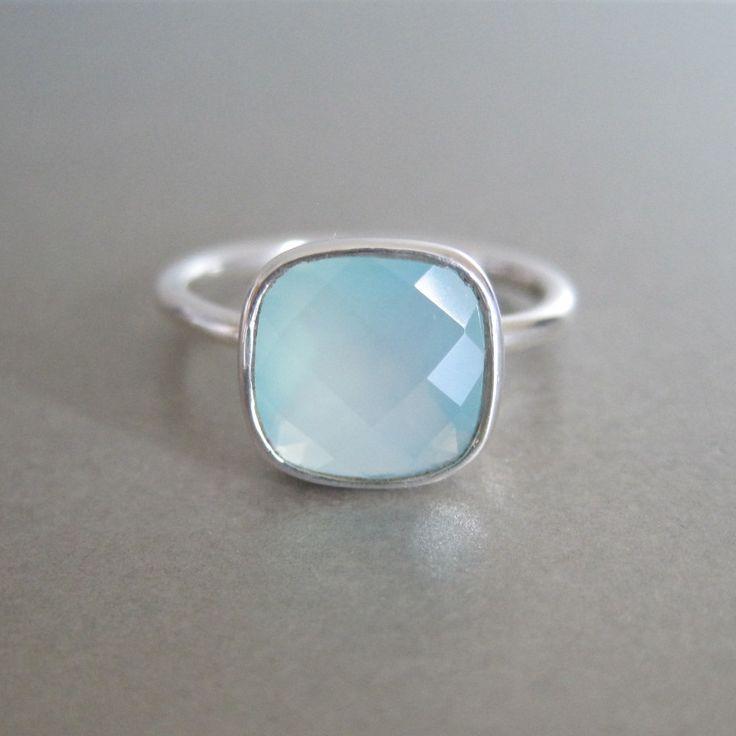 Aqua Chalcedony Square Silver Ring
