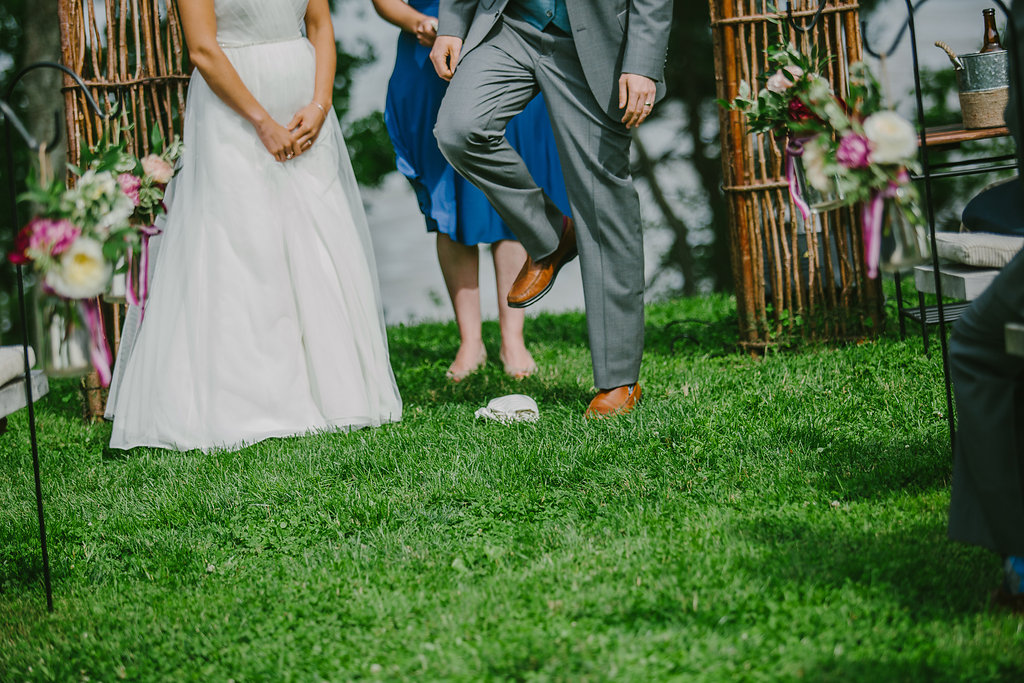 laughter, beer and a broken glass | maine wedding officiant