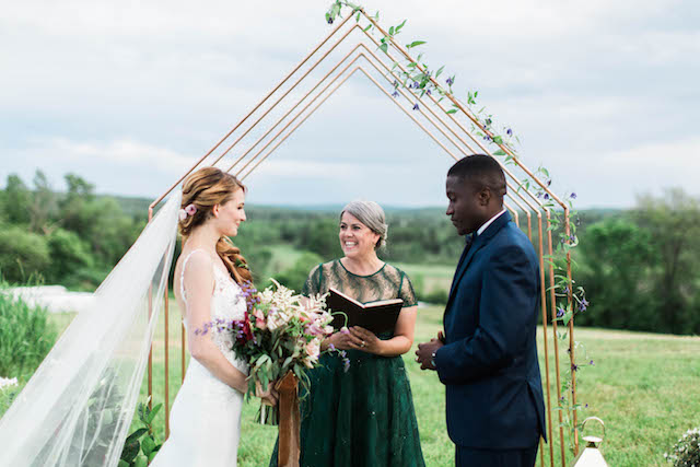 5 Questions to Ask Your Wedding Officiant | Photo by  A Fogarty Photography  | Officiant is A Sweet Start | Florals by  Flora Fauna  | Rentals by  Heartwood Essentials  | Gown by  Blush Bridal