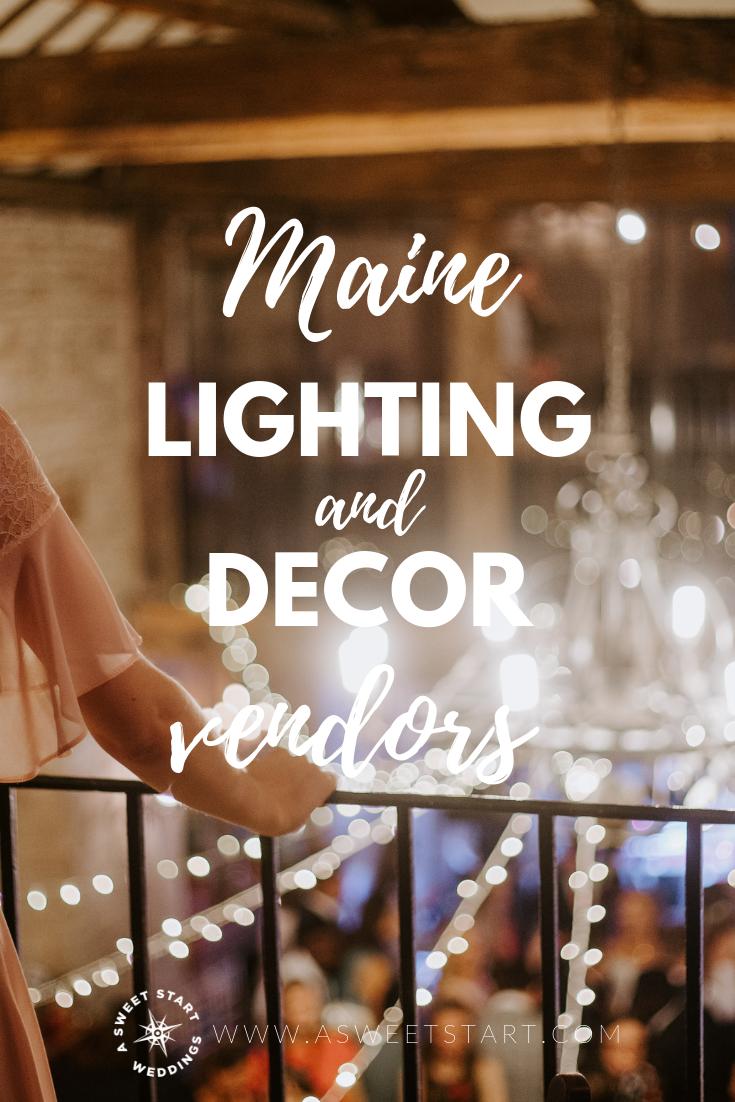 Lighting and decor vendors for wedding in Maine. Photo by  Alasdair Elmes