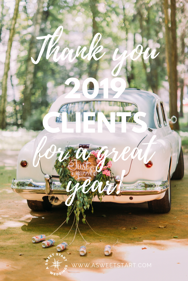 Just married! A professional wedding officiant thanks her 2019 clients.
