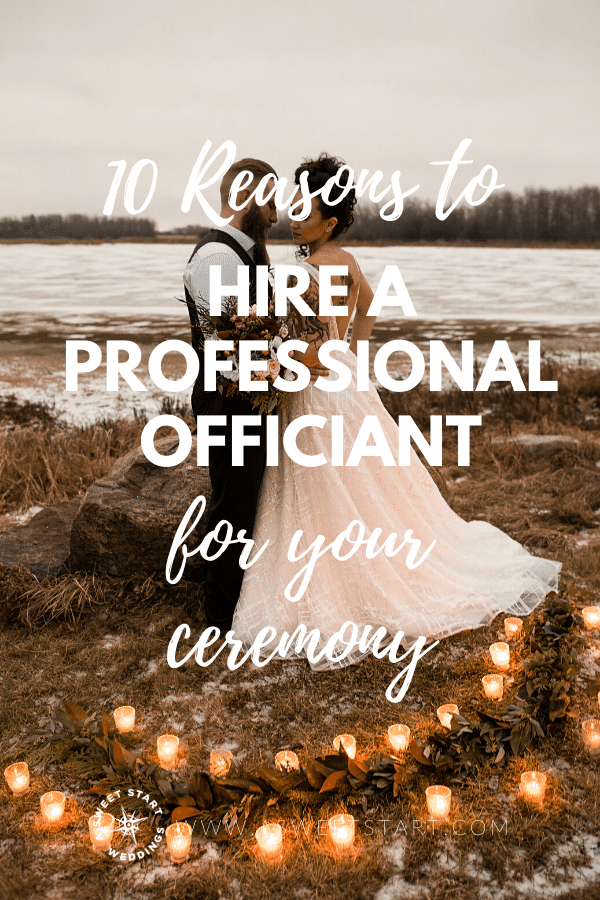 Top 10 list of best reasons to hire a professional wedding officiant for your wedding ceremony. #weddingofficiant #weddingceremony