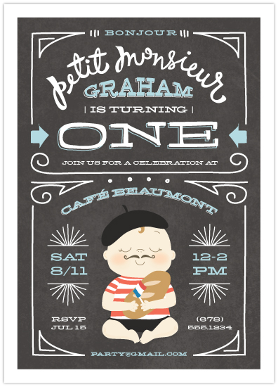 Petit Monsieur birthday invitation by Guess What? for Minted