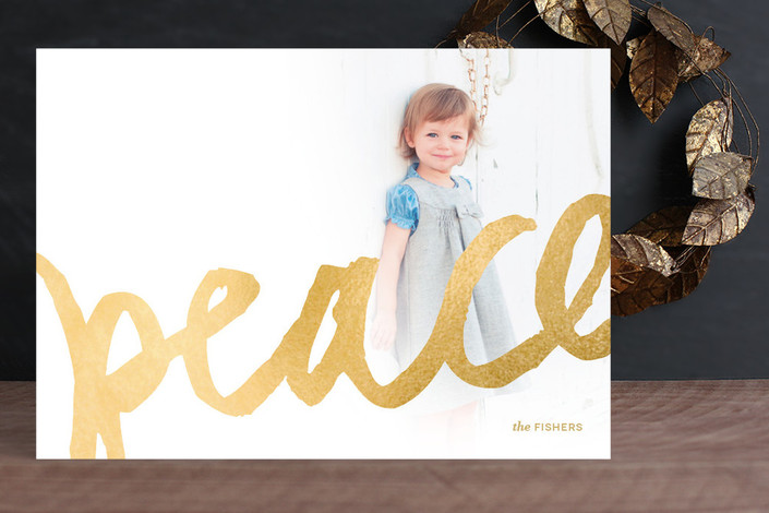 Brushed Gold Holiday Photo Card by Kelli Hall for Minted