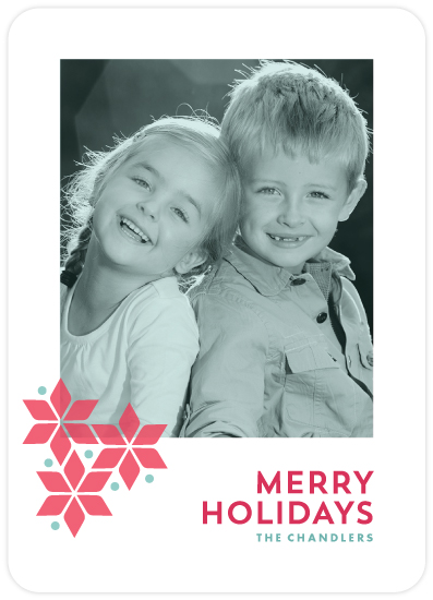 mod poinsettia holiday photo card