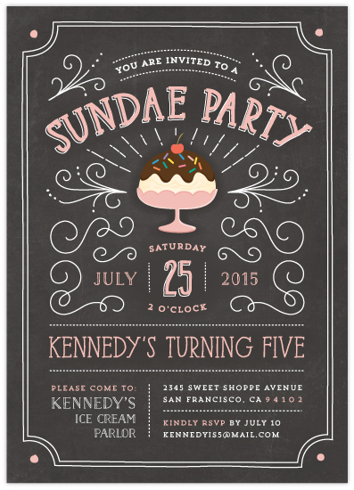 sundae party birthday party invitation