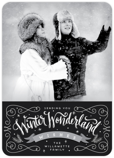 winter wonderland wishes holiday photo card