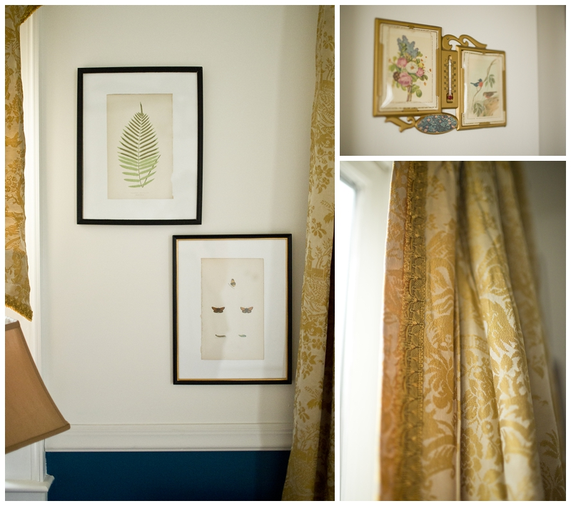 intage prints from Grandview Mercantile and vintage silk curtains, they are my favorite!