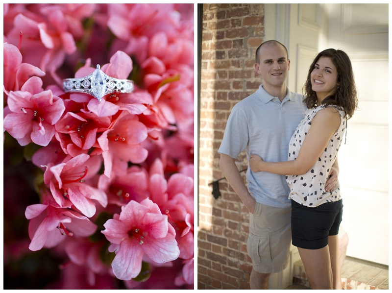 Love, love love the ring! Their wedding colors are Ivory and coral and we happened to find this awesome blooming bush with just the right shade!