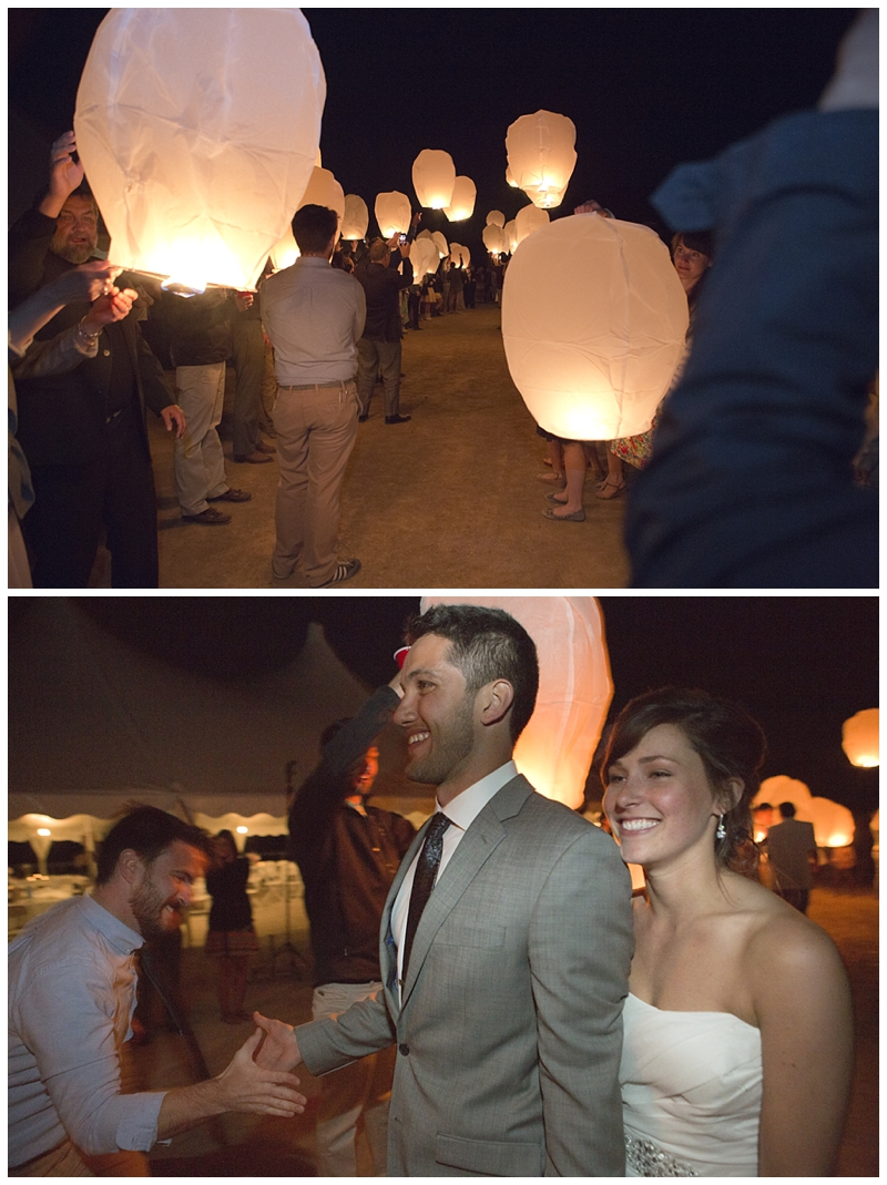 Such a cool exit with the big paper lanterns flying away as they left their reception.