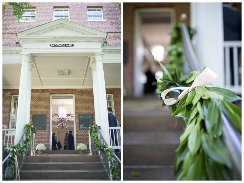 Laurel garlands and long hanging pink ribbon...just enough for this beautiful building!