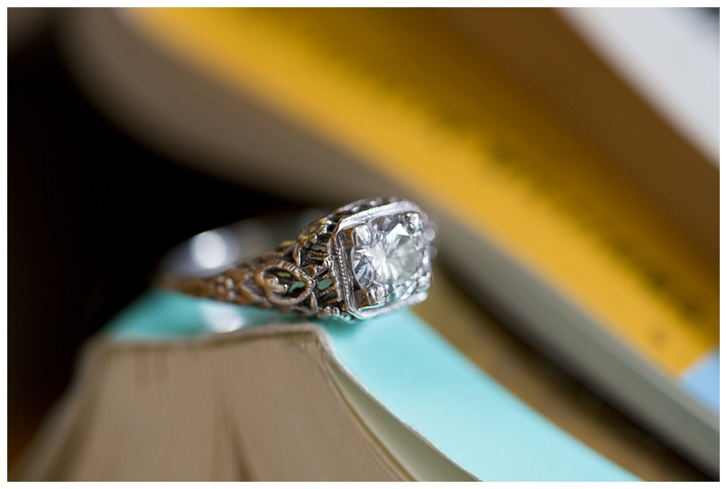 Their wedding theme involves a lot of old books, such a unique theme and I love love love her vintage ring!