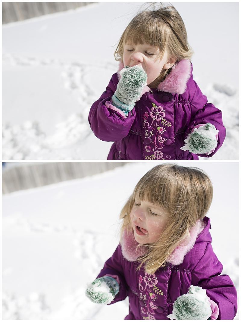 Bri's favorite, eating snow :)