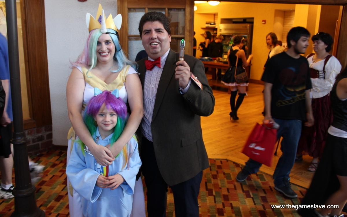 Princess Celestia, the 11th Doctor and little Rainbow Dash