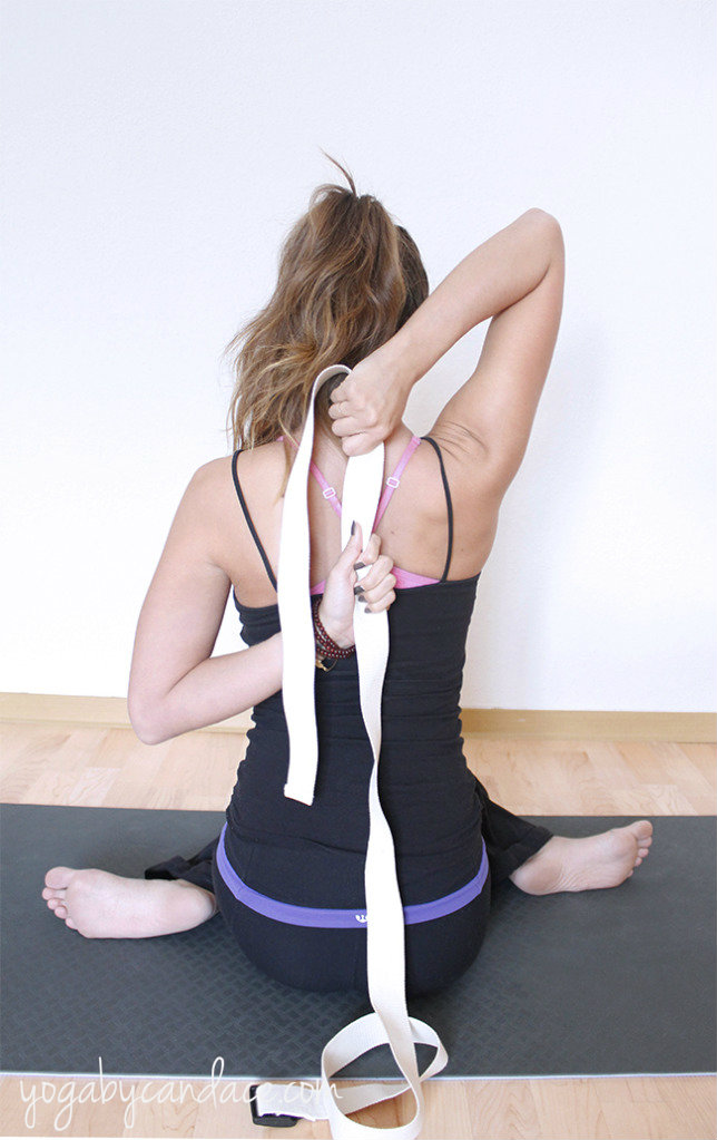 Gomukasana hands with a strap
