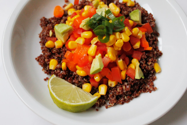 Vegetarian mexican quinoa dish
