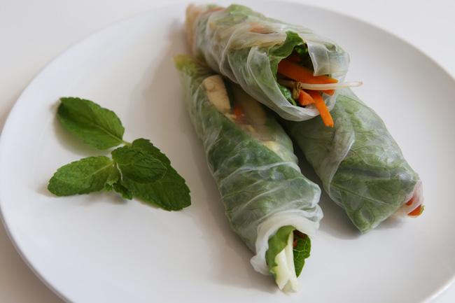 Vegetarian spring rolls- pin now, make later!