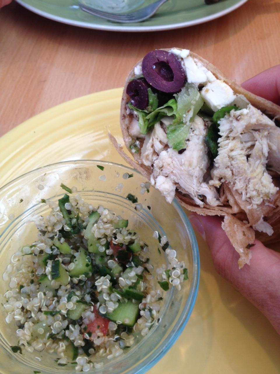 greek wrap and quinoa tabuleh