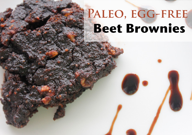 Pin it! Paleo, egg-free beet brownie recipe.