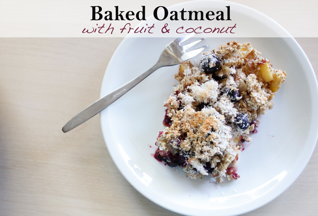Pin it! Baked oatmeal with peaches, berries and coconut.
