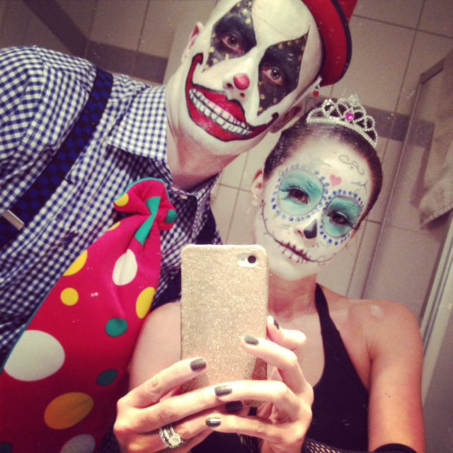 Scary clown & day of the dead ballerina