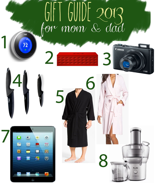 Pin it! 2013 gift guide for mom and dad.