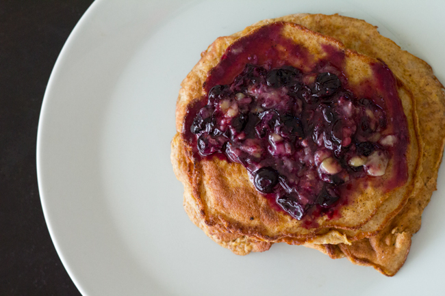 Blueberry sauce and pancakes