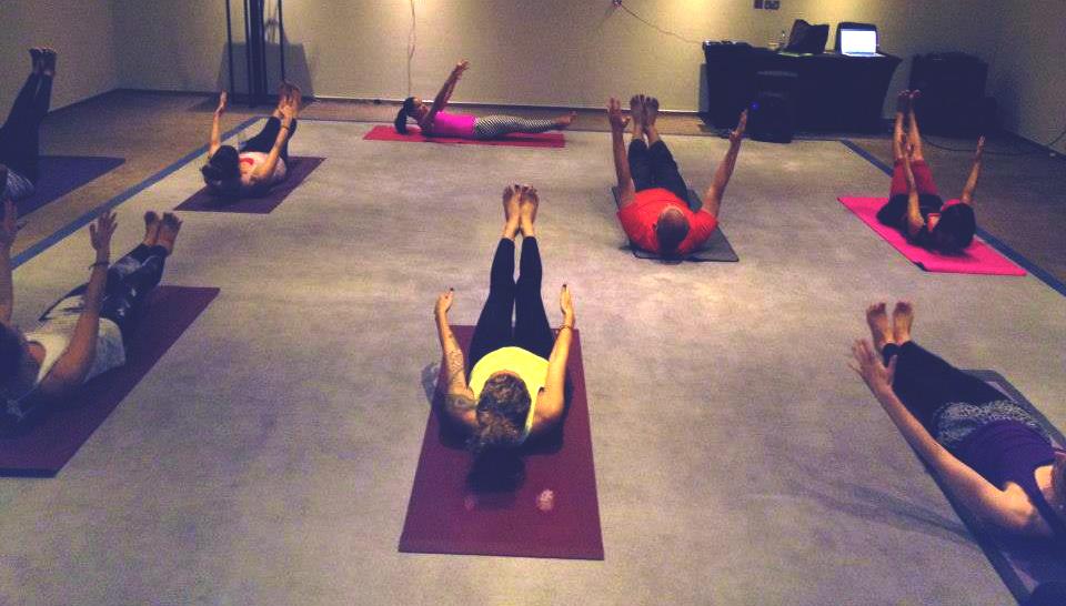 Teaching groove power yoga at the International Dubai Yoga Festival