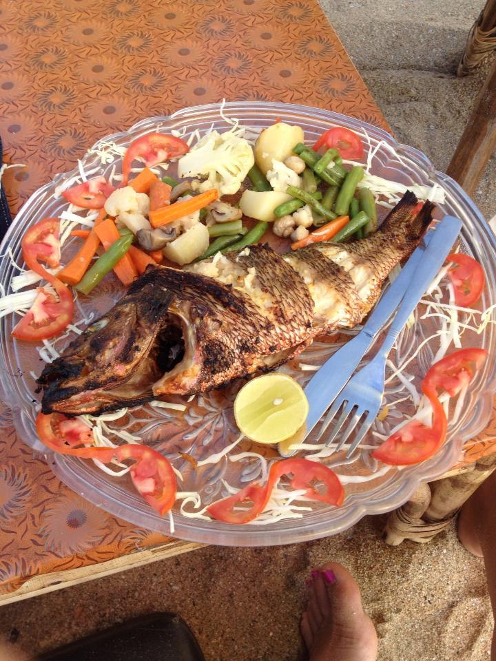 Beach hut food - fresh fish and steamed veggies.
