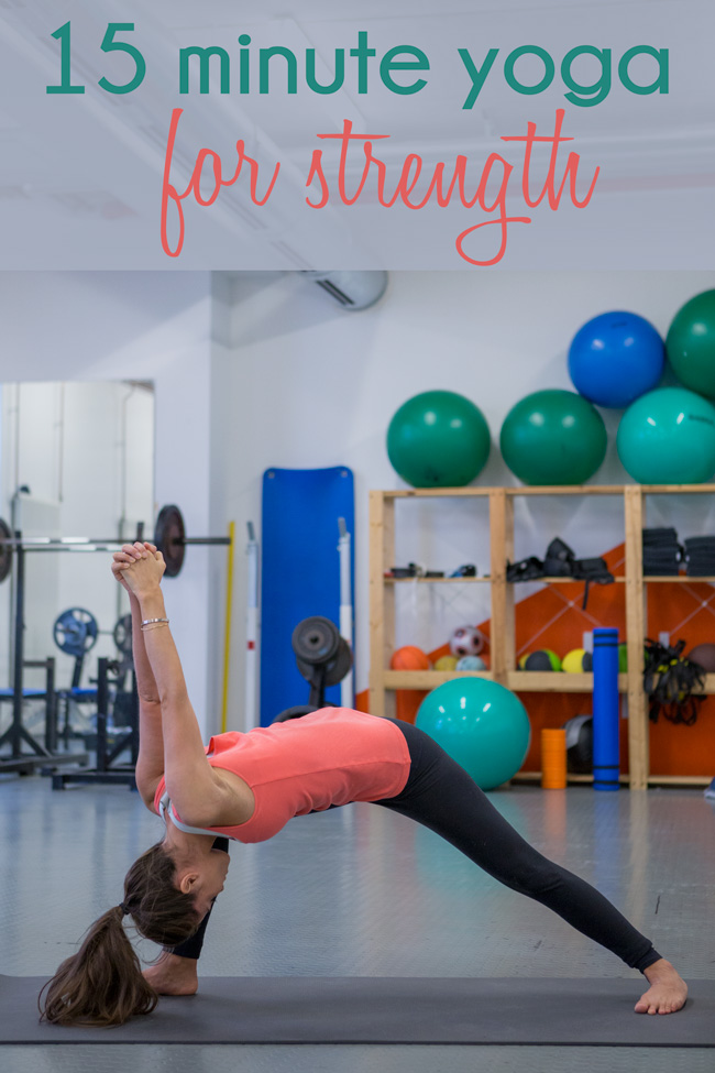 Pin it! 15 minute yoga video for strength.