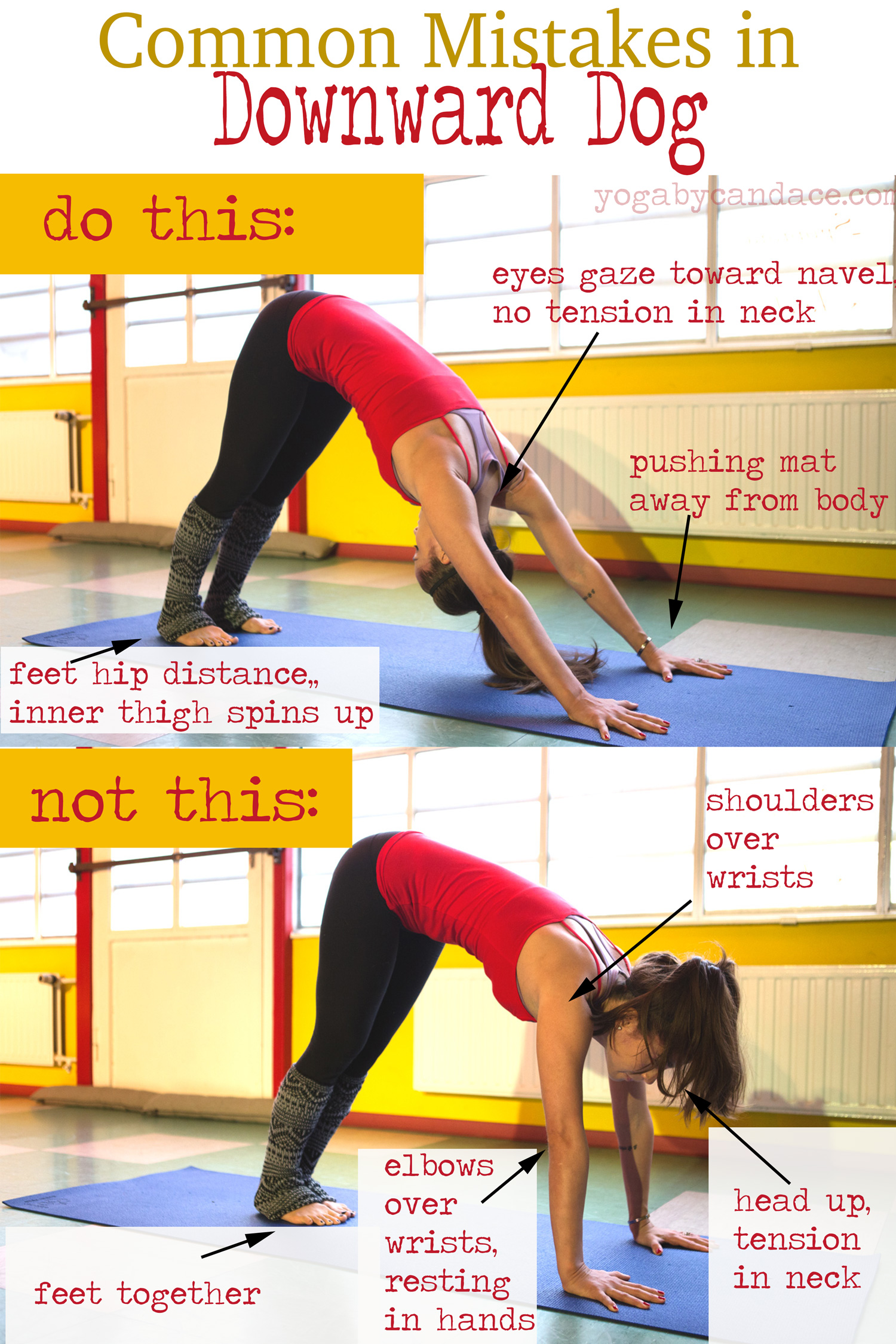 Pin it! Common mistakes in Down Dog and how to fix them.