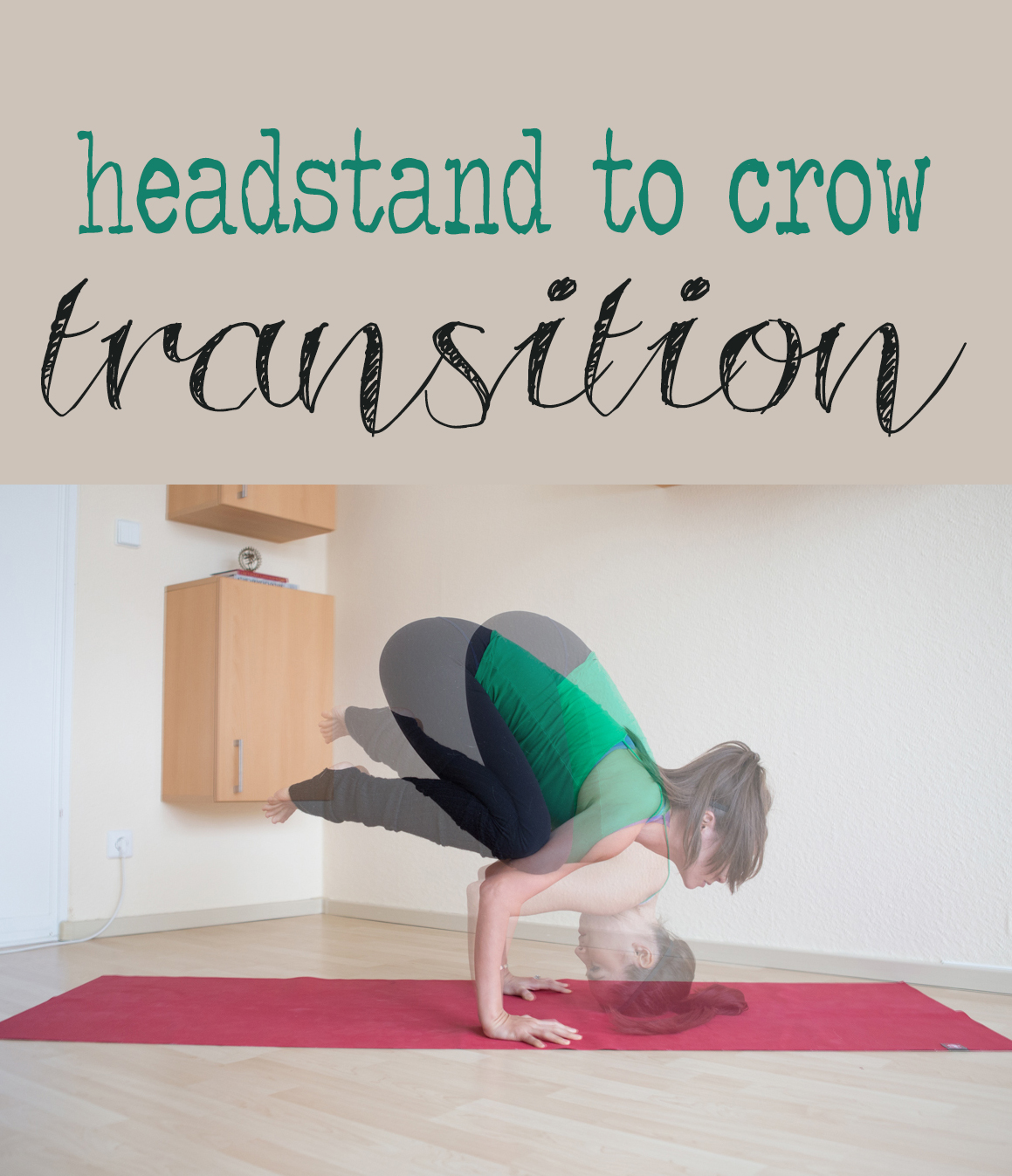 Learn how to do this cool transition from headstand to crow in this video.  Wearing:  Forever 21 tank , sports bra ( similar ), lululemon wunder unders ( similar ),  stirrup leg warmers . Using:  Manduka eKo superlite travel mat .