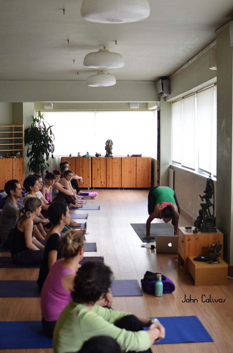 Teaching a pop up class at  Bhavana Yoga Center .