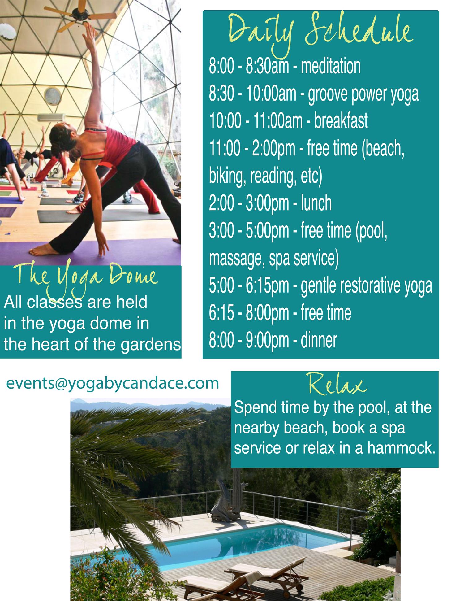 Sample day at the yoga retreat in Ibiza