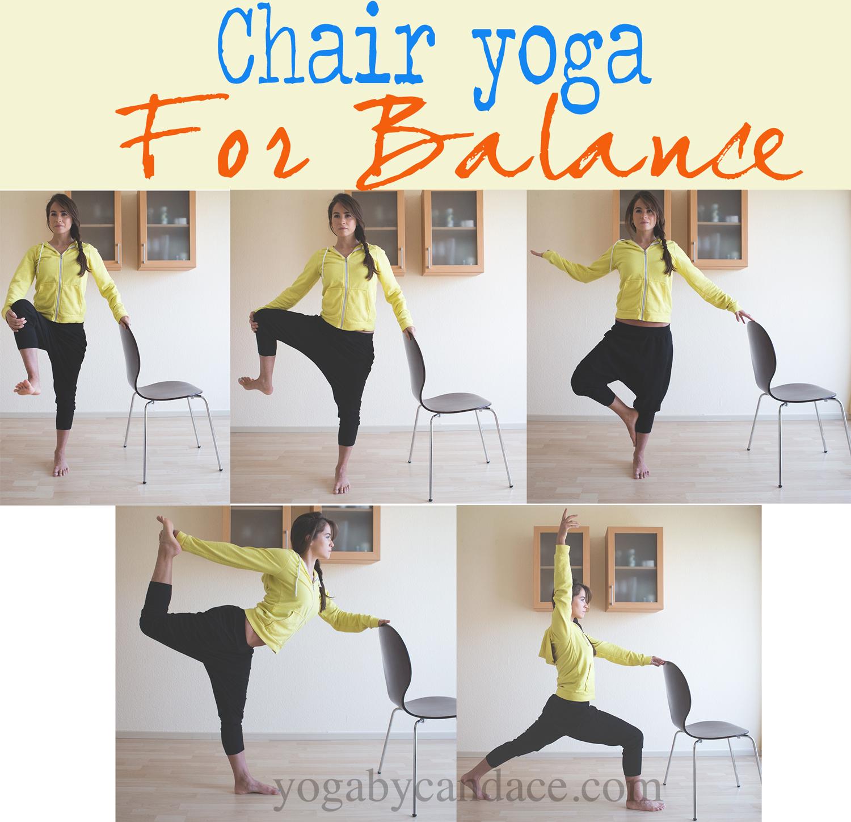 Pin it! Chair yoga for balance and strength.  Wearing:  F21 harem pants , BGD sweatshirt ( similar )