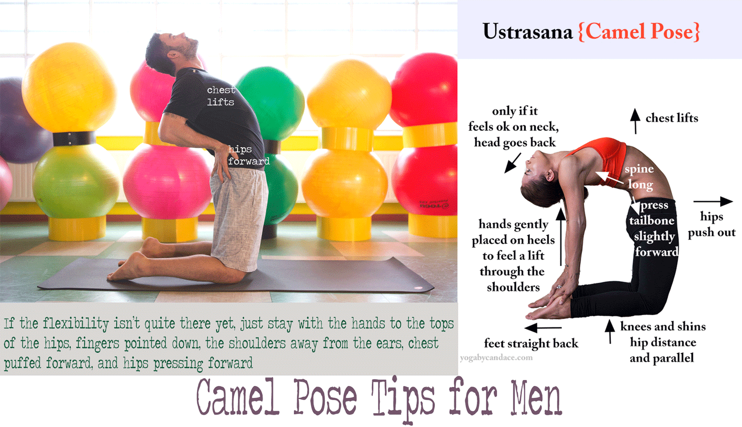 Pin it! Yoga tips for men (or anyone with tight hips/chest/shoulders). Click to enlarge.  Using: Manduka  black mat pro .