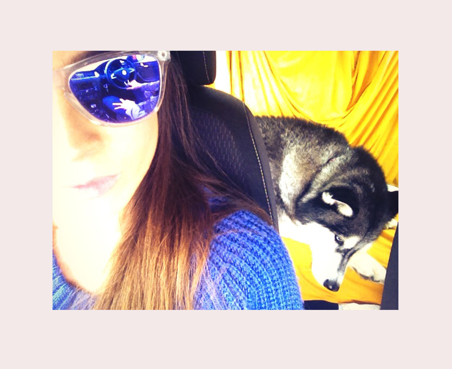 Taking a trip to a nearby city - someone isn't very pumped to be in the car. :)  Wearing:  Oakley frogskins