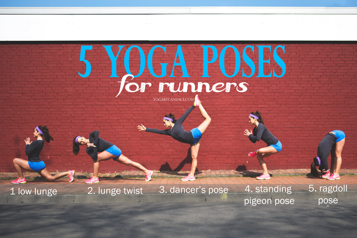 Pin it! 5 Yoga poses for runners. Click the pic to enlarge.  Wearing:  Asics sneakers , lululemon shorts and headband,  j crew painter's tee