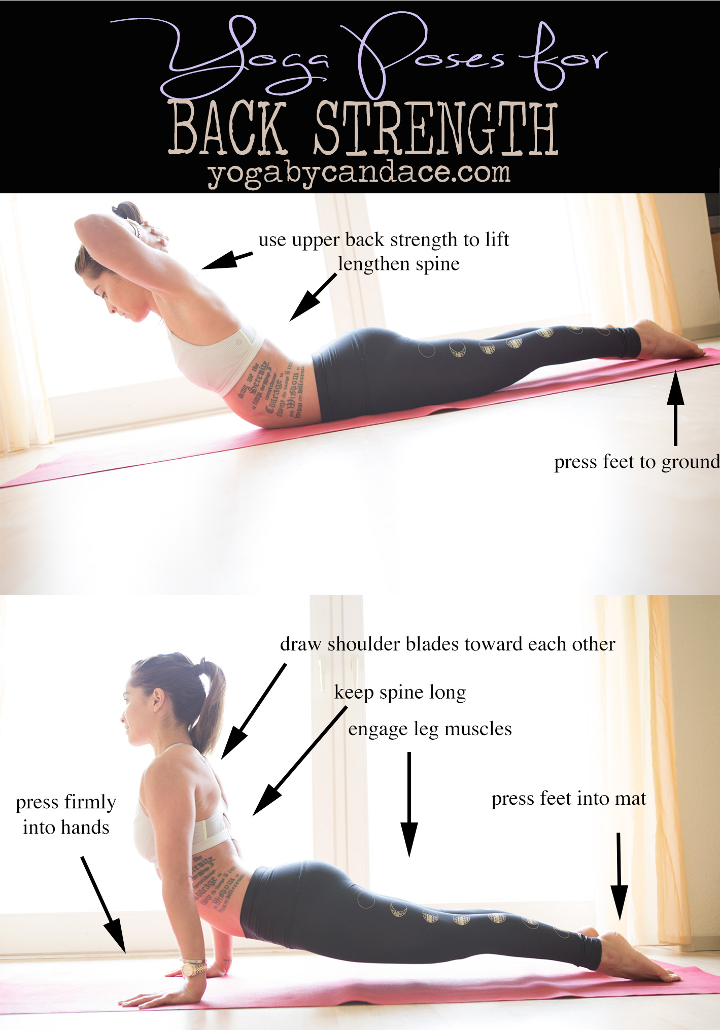 Pin it! Yoga for improving back strength.  Wearing: lululemon bra,  teeki moon leggings . Using:  Manduka travel mat .