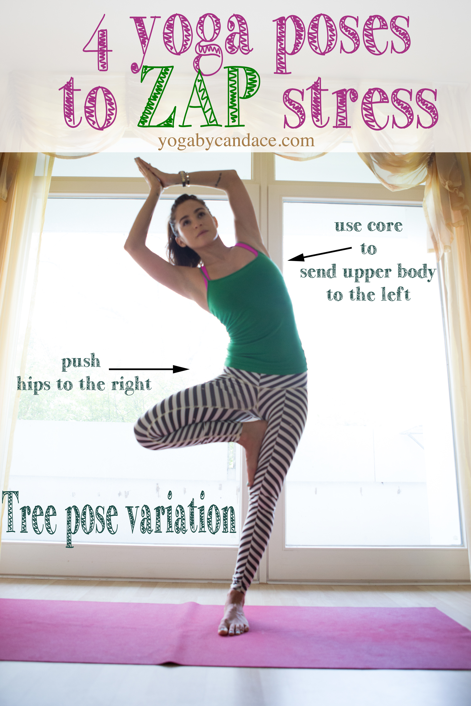 Pin it! 4 yoga poses to zap stress.  Wearing:  Teeki balanced traveler pants (read the  review ),  tank . Using  Manduka travel mat.