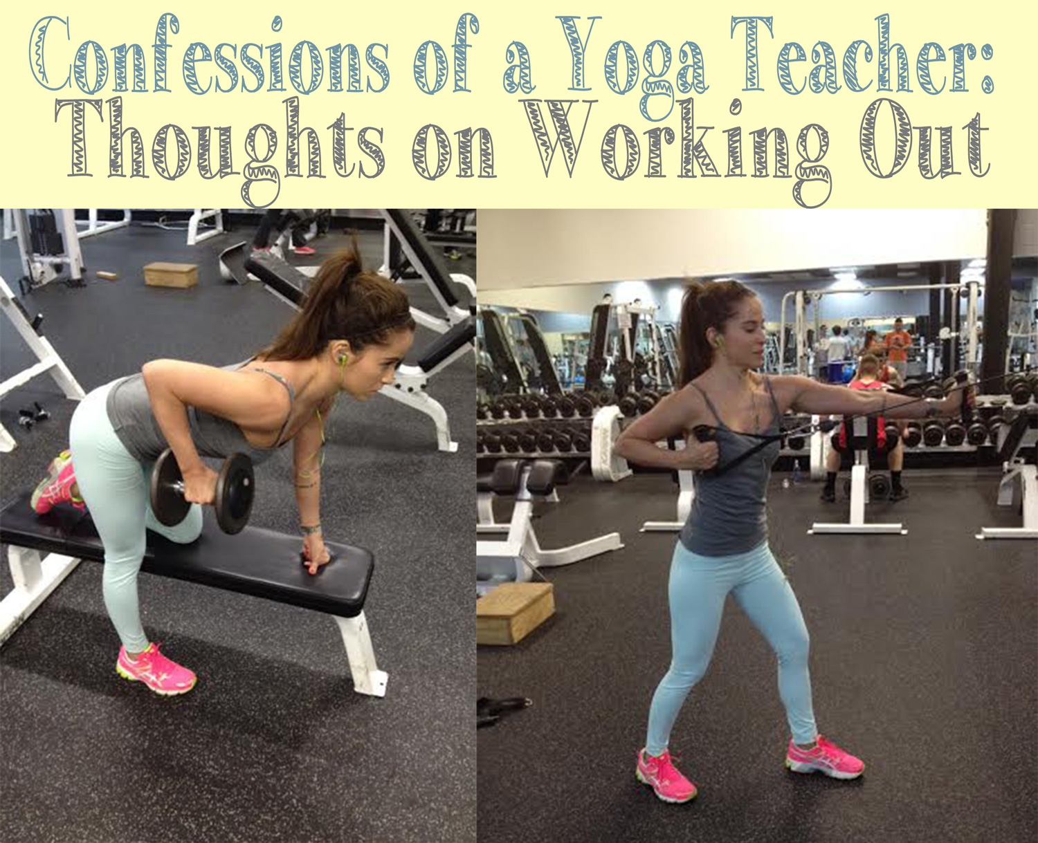 Confessions of a yoga teacher  Wearing:  asics sneakers ,  fabletics leggings  c/o,  f21 tank  Using:  Bose headphones