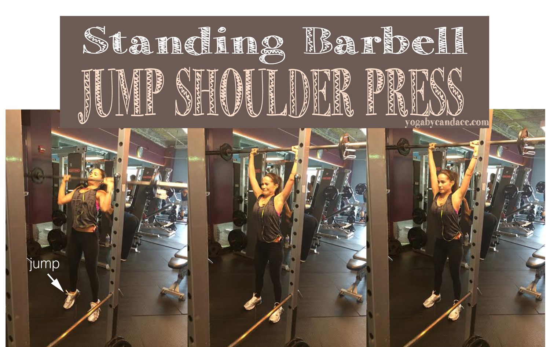 Standing barbell jump shoulder press