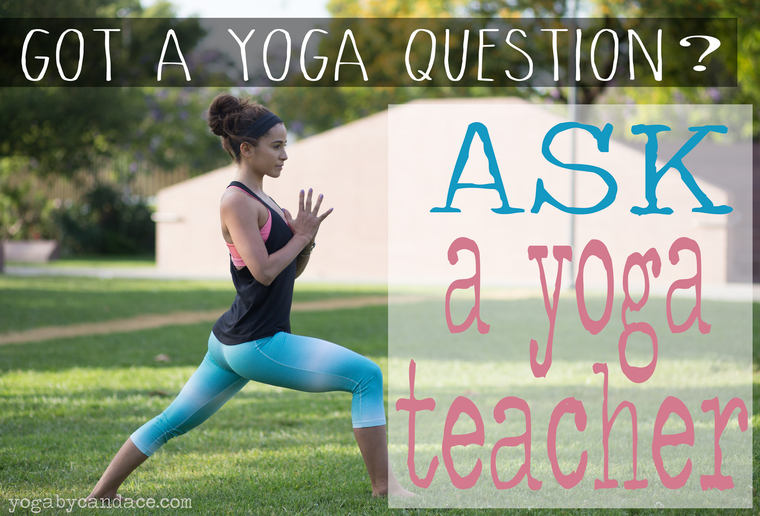 Pin it! Ask your yoga questions on this blog!  Wearing:  Nike capri  and  tank ,  Glyder bra  (it's so cool, love this one!), lululemon headband ( similar )