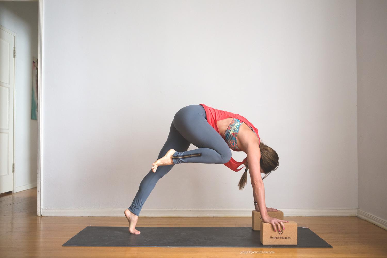 Using:  Hugger Mugger cork yoga blocks ,  gaiam sol dry grip mat .