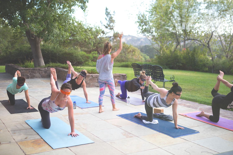 Blindfold yoga class  Me, wearing:  Liquido active leggings  c/o, soft joie tank ( similar )